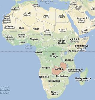 Zambia ligger i södra Afrika.