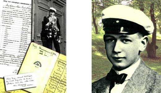 Dag Hammarskjöld som student, med slutbetyg.