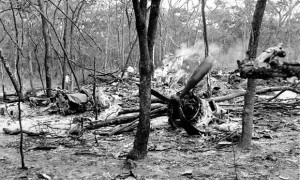 The wreckage of the plane after the crash in which Dag Hammarskjöld died near Ndola, Zambia, in 1961. Photograph: AP